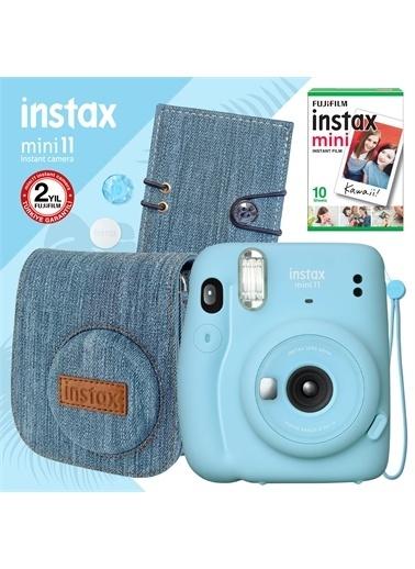 Instax Instax mini 11 Mavi Fotoğraf Makinesi ve Jean Aksesuarlı Hediye Seti 2 Mavi